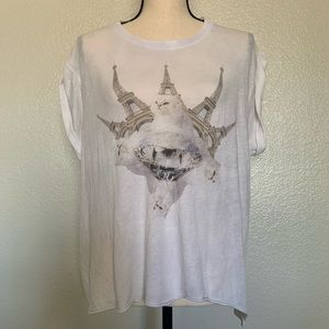 Wildfox white cat kitty diamond tower T-shirt